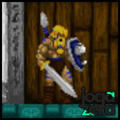O escudo com a imagem de Mjollnir é seu segundo item. Inquebrável e permite arremessar lanças com raios.